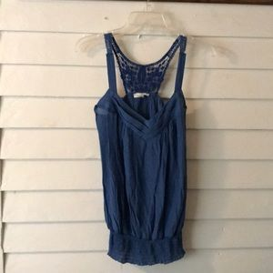 Mine Blue Tank Top with crocheted Racerback sz S
